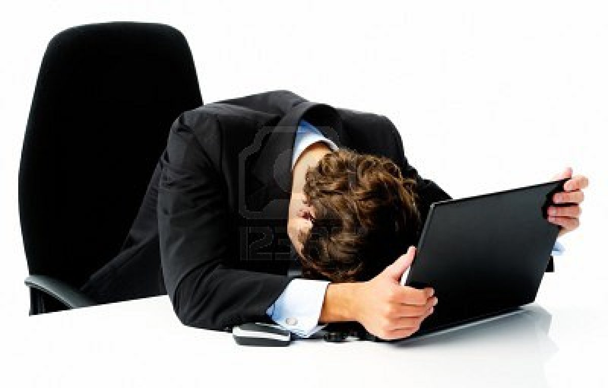 His head down on his laptop computer when he fails to meet his target