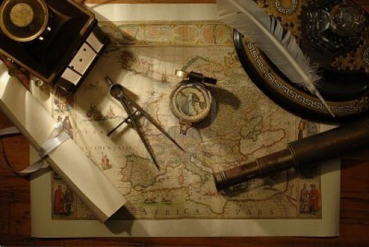 7060282-nautical-navigation-tools-on-old-world-map